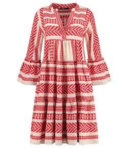 Devotion Short Midi Dress Embroidery (strandjurk) Rood mix