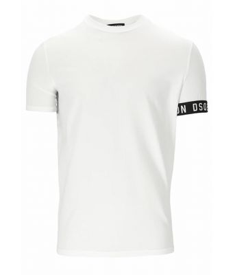 Dsquared2  T-shirt branded tape D2 - wit/ zwart Wit